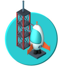 Design shuttle launch icon