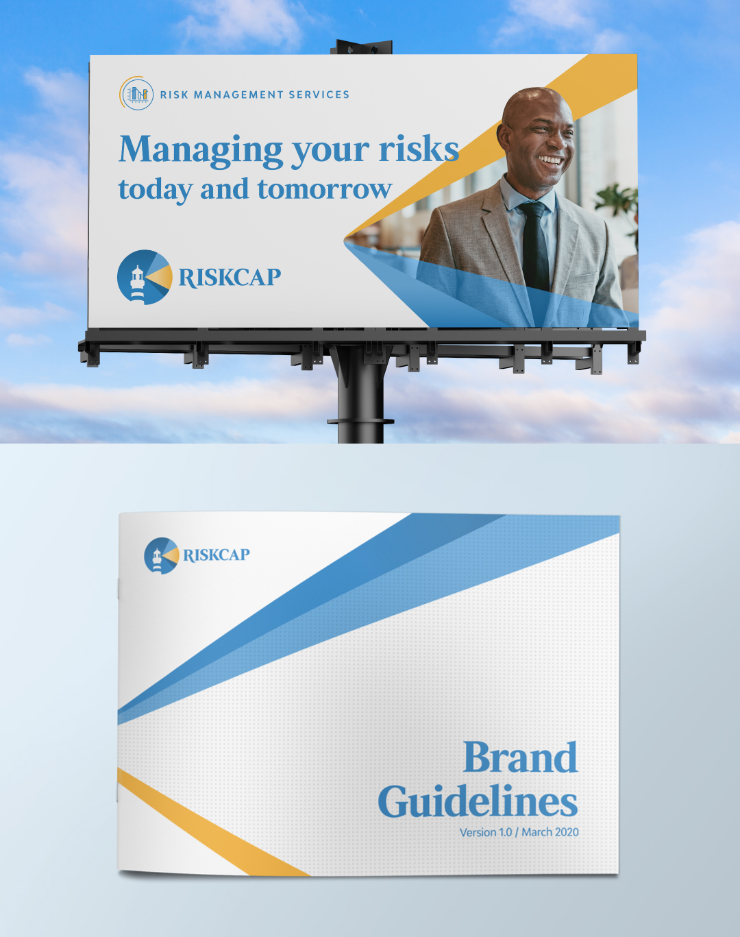 RiskCap billboard mockup and guidelines cover