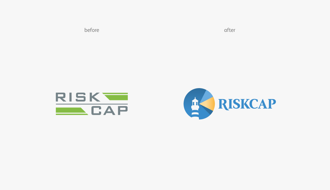 RiskCap logo before and after
