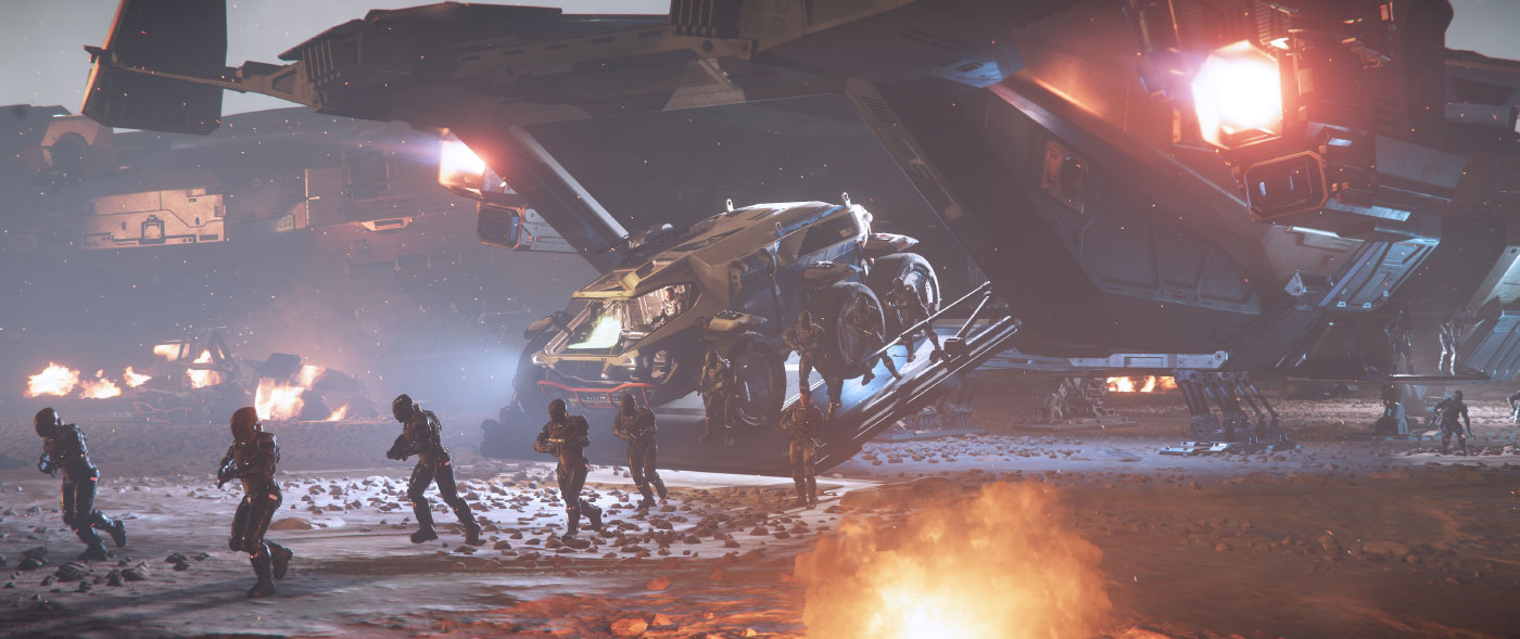Concept art of Rover exiting Valkyrie from Star Citizen