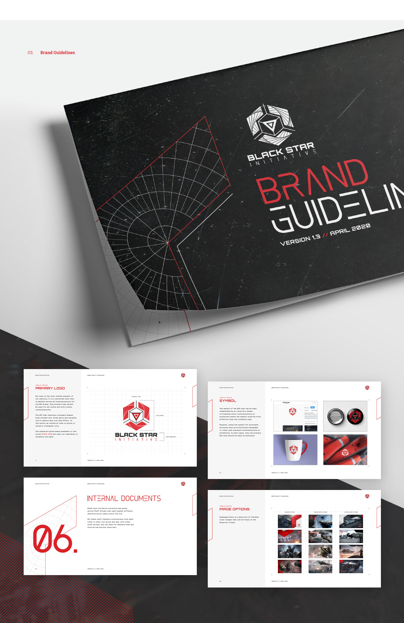 Sample pages from the BSI brand guidelines