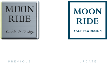 Comparison of previous and updated Moonride logo