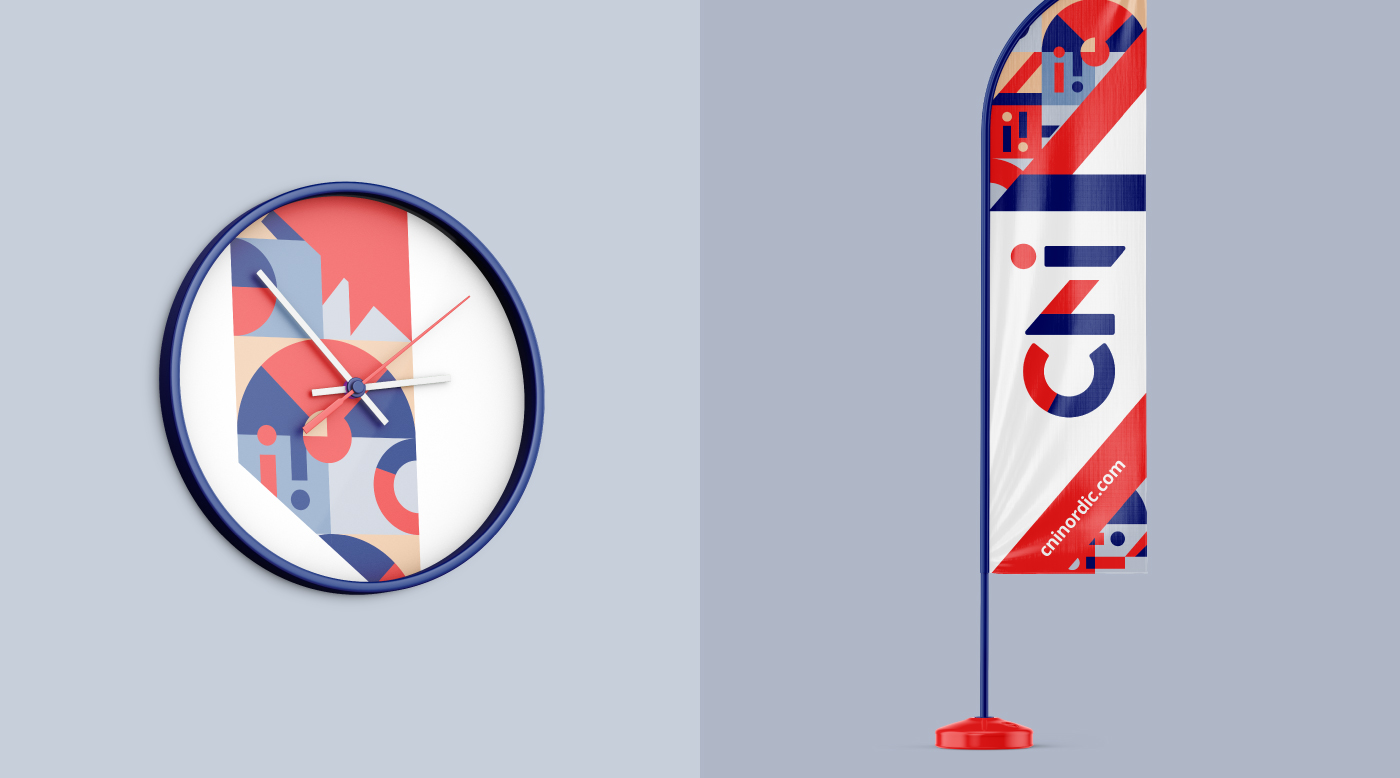 CNI mock-ups of wall clock and stand-up flag
