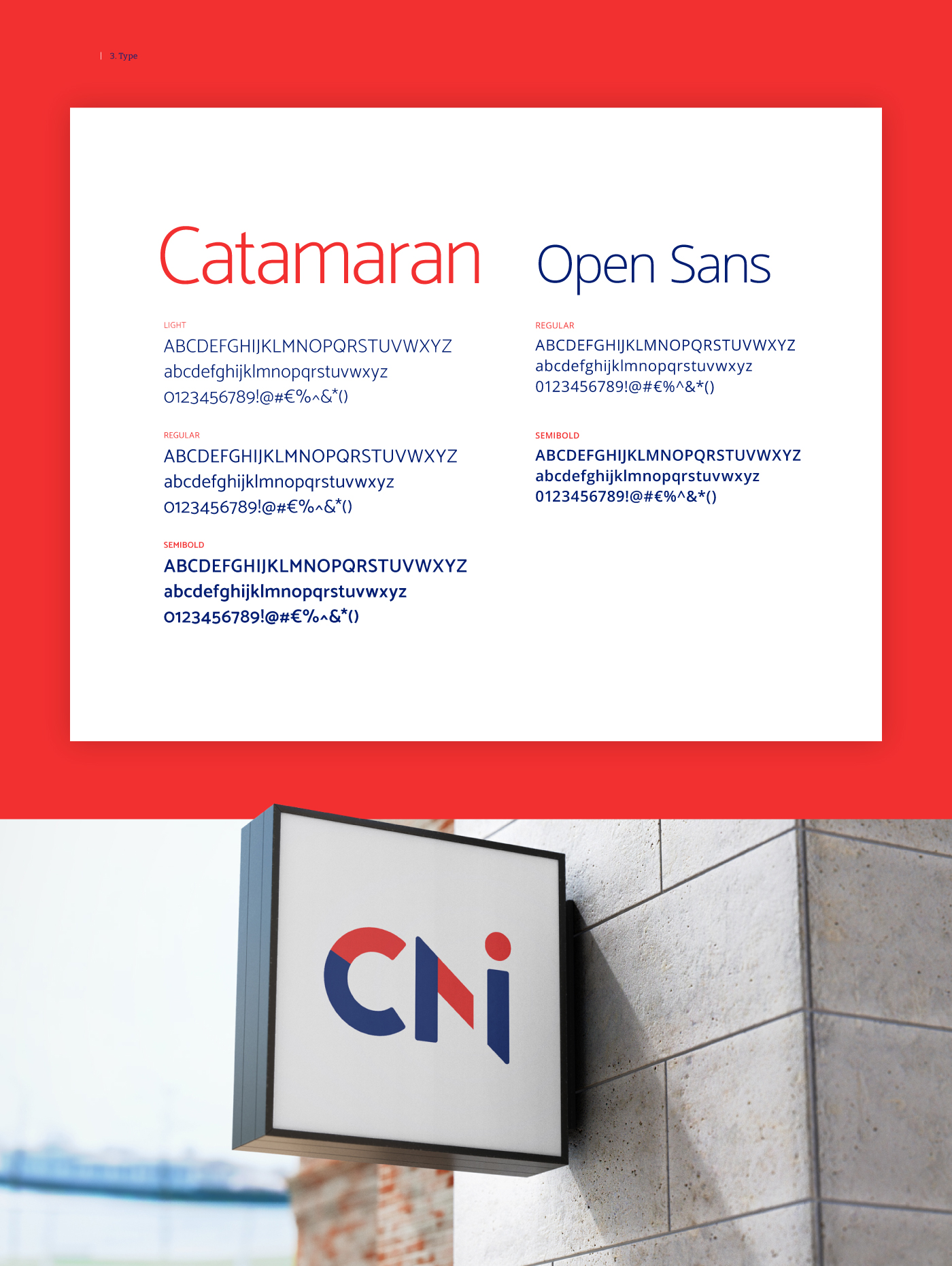 Type used in the CNI brand